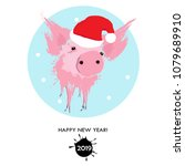 portrait of the pink pig in a... | Shutterstock .eps vector #1079689910
