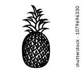 pineapple line icon. whole ripe ... | Shutterstock . vector #1079696330