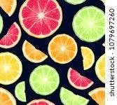 hand drawn citrus fruits... | Shutterstock .eps vector #1079697260
