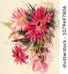 watercolor  flowers.  red... | Shutterstock . vector #1079697806