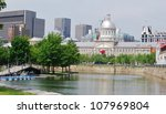 Downtown Montreal Waterfront, and the Bonsecours Market in Canada - stock photo