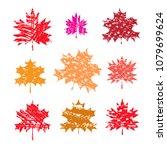 set of maple leaves  in flat... | Shutterstock .eps vector #1079699624