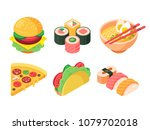 set of colorful isometric fast... | Shutterstock .eps vector #1079702018