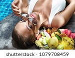 sensual beautiful lady at the... | Shutterstock . vector #1079708459