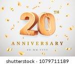 20 anniversary gold wooden... | Shutterstock .eps vector #1079711189