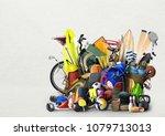 sports equipment has fallen... | Shutterstock . vector #1079713013