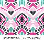ikat geometric folklore... | Shutterstock .eps vector #1079718980