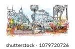 city landmark with street view...   Shutterstock .eps vector #1079720726