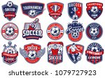set of soccer emblems in colour ... | Shutterstock . vector #1079727923