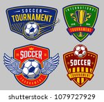 set of soccer emblems in colour ... | Shutterstock . vector #1079727929