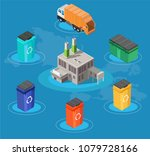 isometric low poly waste... | Shutterstock .eps vector #1079728166