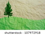 tree and green field on... | Shutterstock . vector #107972918