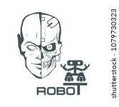 robotic face. robot logo for... | Shutterstock .eps vector #1079730323