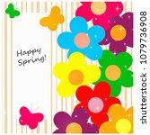 flowers and butterflies happy... | Shutterstock . vector #1079736908