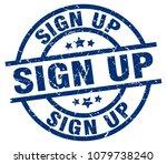 sign up blue round grunge stamp | Shutterstock .eps vector #1079738240