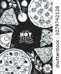 italian pizza and ingredients... | Shutterstock .eps vector #1079742128