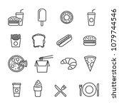 vector image set of fast food... | Shutterstock .eps vector #1079744546