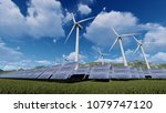 solar panels and wind turbine... | Shutterstock . vector #1079747120