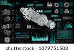 head up display hud ui  jet... | Shutterstock .eps vector #1079751503