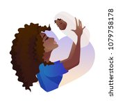 young mother with baby in her... | Shutterstock .eps vector #1079758178