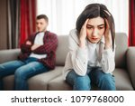stressed wife and sad husband... | Shutterstock . vector #1079768000