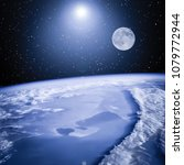 Small photo of Earth and moon. Great view. The elements of this image furnished by NASA.