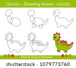 drawing lesson for children.... | Shutterstock .eps vector #1079773760