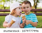 Cute Little Boy Share Ice Crea...