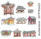watercolor korean style house... | Shutterstock . vector #1079781623