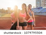 group of fit young sportswomen... | Shutterstock . vector #1079795504