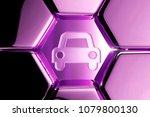 metallic magenta car icon in...