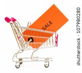An isolated shot of a shopping cart and sale tag for the penny saver mindset. - stock photo