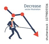decrease graph. businessman... | Shutterstock .eps vector #1079805536