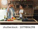 happy african american couple... | Shutterstock . vector #1079806298