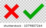 red cross and a green tick....   Shutterstock .eps vector #1079807264