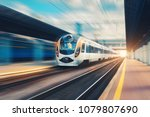 high speed passenger train in... | Shutterstock . vector #1079807690