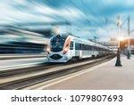 high speed passenger train in... | Shutterstock . vector #1079807693