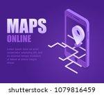 concept online maps. vector... | Shutterstock .eps vector #1079816459