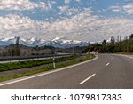 view of snow capped mountains... | Shutterstock . vector #1079817383