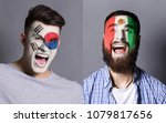 emotional soccer fans with... | Shutterstock . vector #1079817656