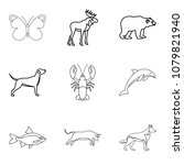 dolphin icons set. outline set... | Shutterstock . vector #1079821940
