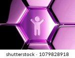 metallic magenta child icon in...