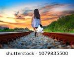 little girl run away from home  ... | Shutterstock . vector #1079835500