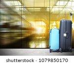 traveler suitcases in airport... | Shutterstock . vector #1079850170