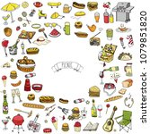 hand drawn doodle picnic icons... | Shutterstock .eps vector #1079851820