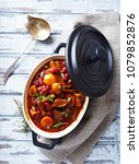 beef goulash with kidney beans  ...   Shutterstock . vector #1079852876