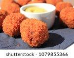 dutch bitterballen with mustard ... | Shutterstock . vector #1079855366
