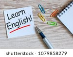 learn english   note at wooden... | Shutterstock . vector #1079858279