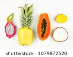 tropical fruit flat lay with... | Shutterstock . vector #1079872520