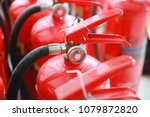 red tank of fire extinguisher. | Shutterstock . vector #1079872820